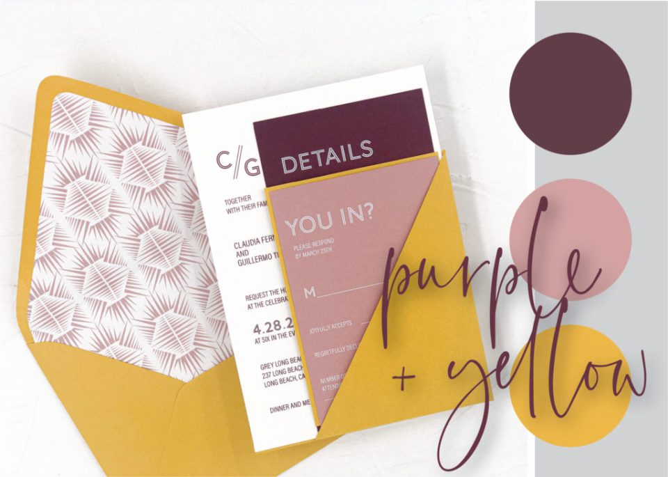 purple and yellow wedding color palette