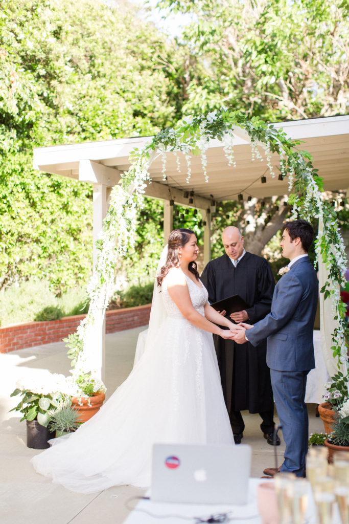 Couple livestream their wedding ceremony