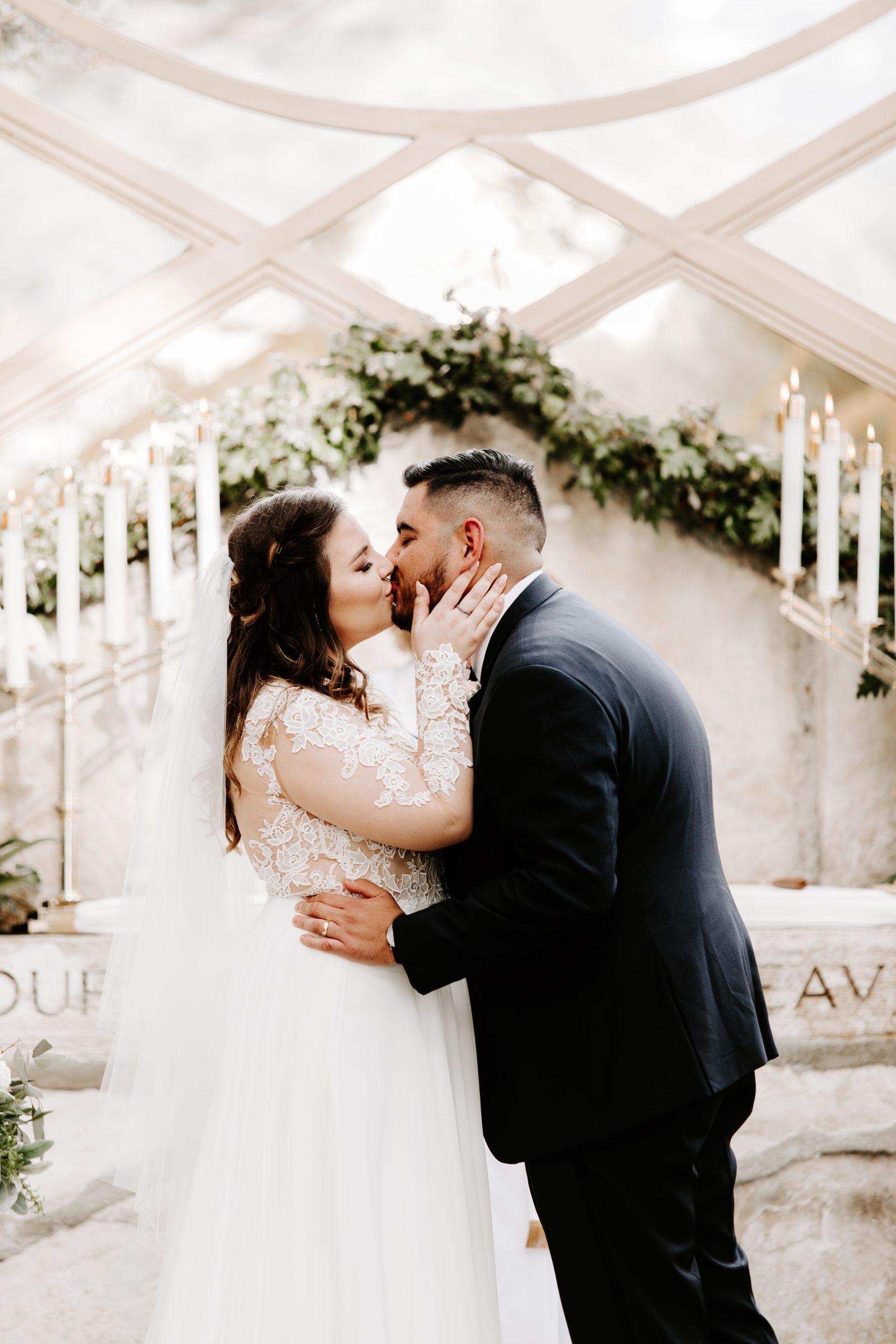 Bride and Groom first kiss at Wayfarers Chapel