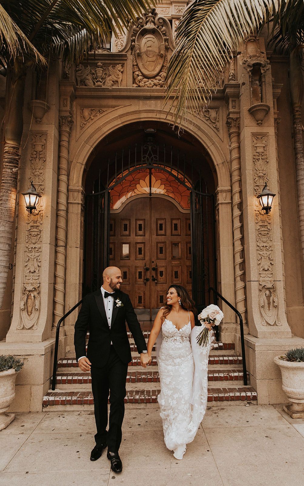 Bride and groom married at Ebell of Long Beach