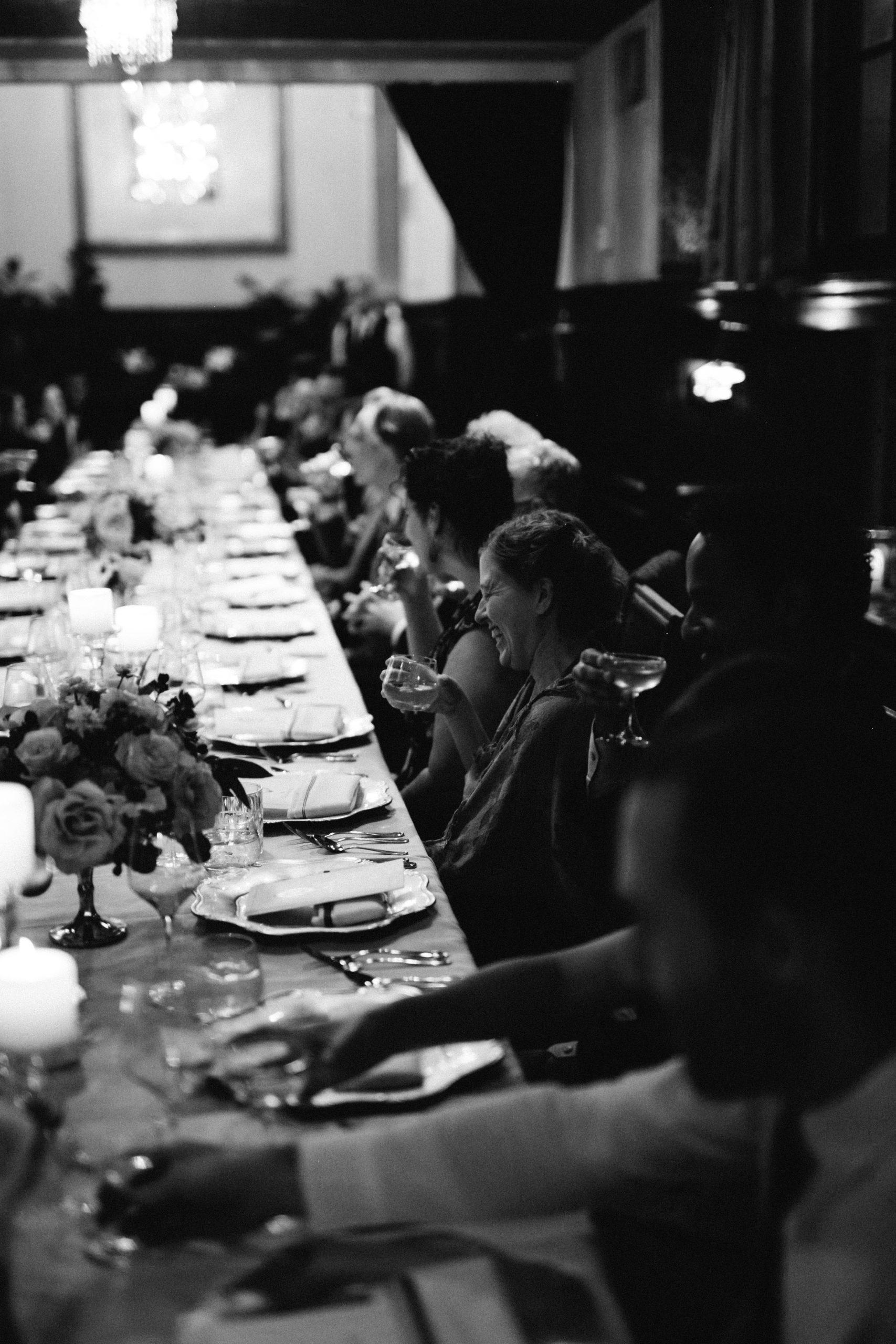 Long dinner table at wedding reception
