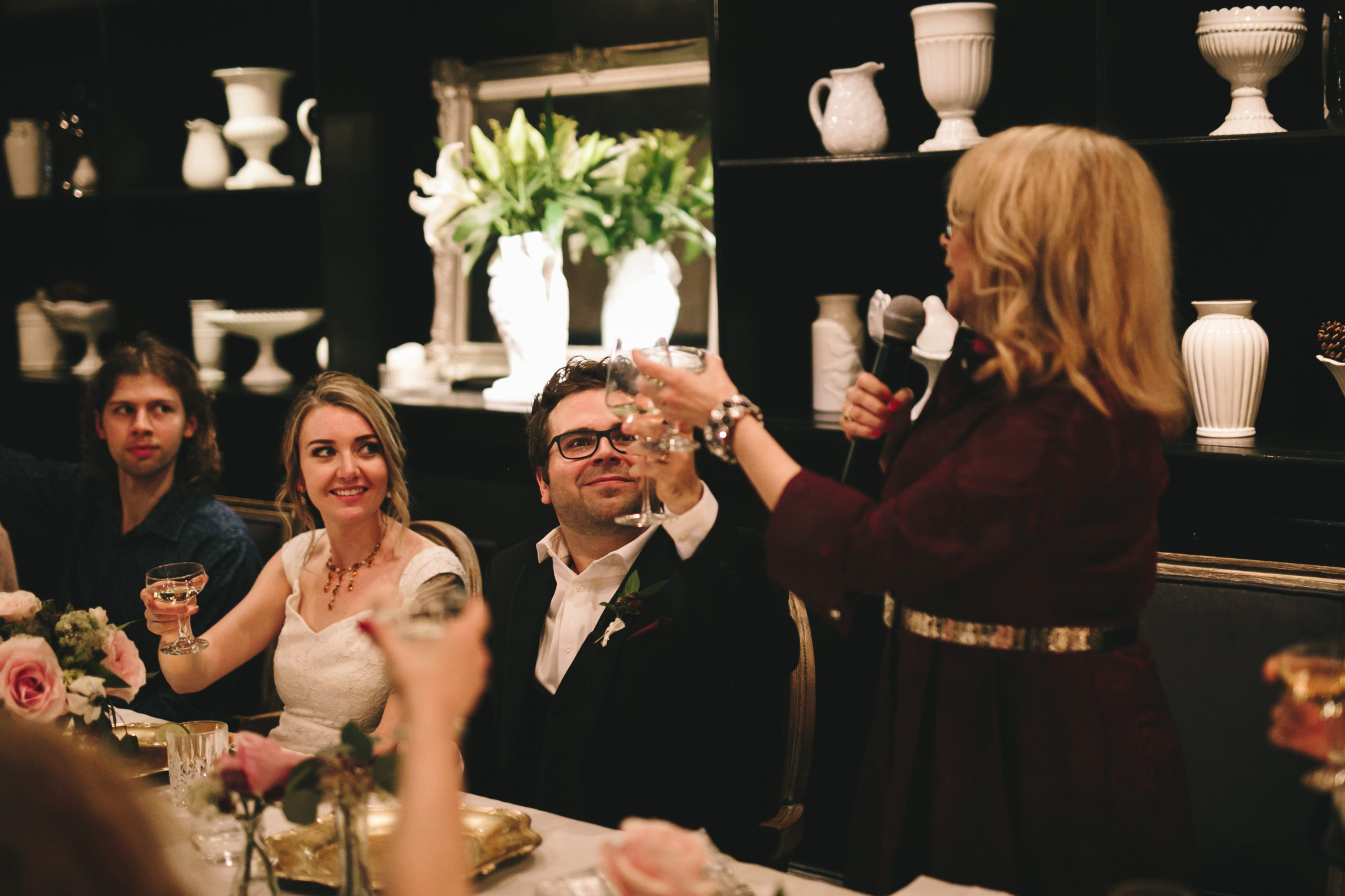 Mother of groom toast at wedding reception