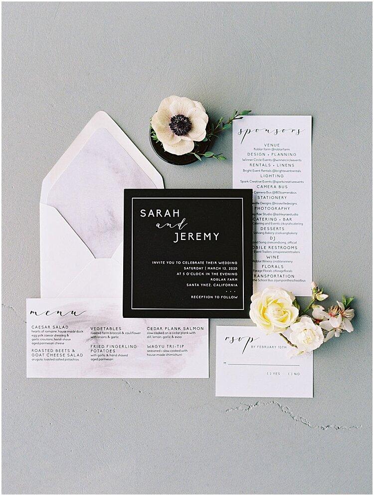 minimalist black and white wedding stationery flatlay