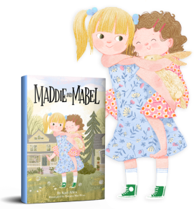 Maddie and Mabel book cover standing up in front of Maddie and Mabel illustration.