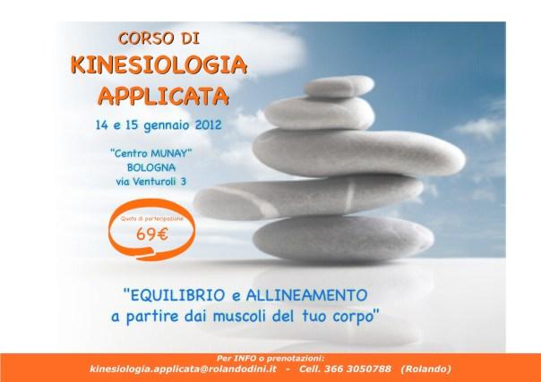 Corso di KINESIOLOGIA APPLICATA,  14 e 15 gennaio 2012 a Bologna