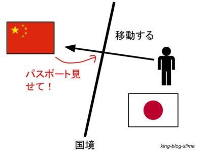中国と日本の移動の場合