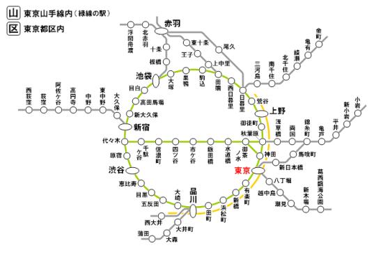 「東京都区内」と「東京山手線内」