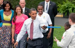 President Barack Obama with First Lady Michelle and Chicago Mayor Richard M. Daly at the US Olympian Youth Sporting event on the South Lawn of the White House in Washington, Wednesday, Sept. 16, 2009. (Official White House Photo by Chuck Kennedy)