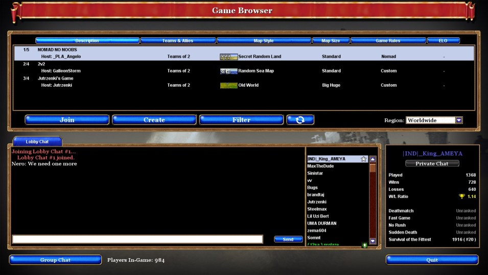 New to Rise Of Nations - Game Browser