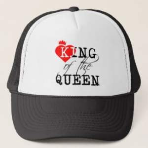 King Of The Queen red heart and a crown Trucker Hat