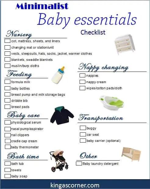 minimalist baby essentials checklist for pinterest