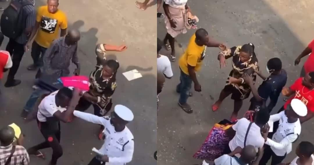 pickpocket receives slaps from woman
