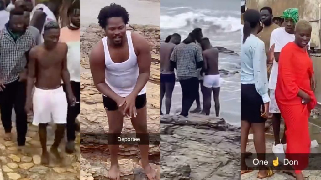 Shatta Wale, Medikal & Two Accomplices Perform Self-Cleansing Ritual At The Sea After Court Bail