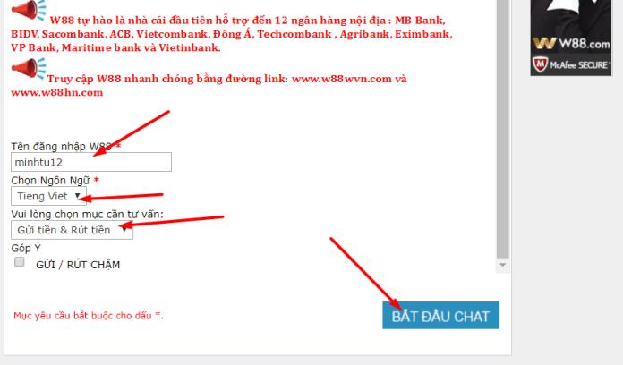 Hướng dẫn gửi tiền tài khoản W88