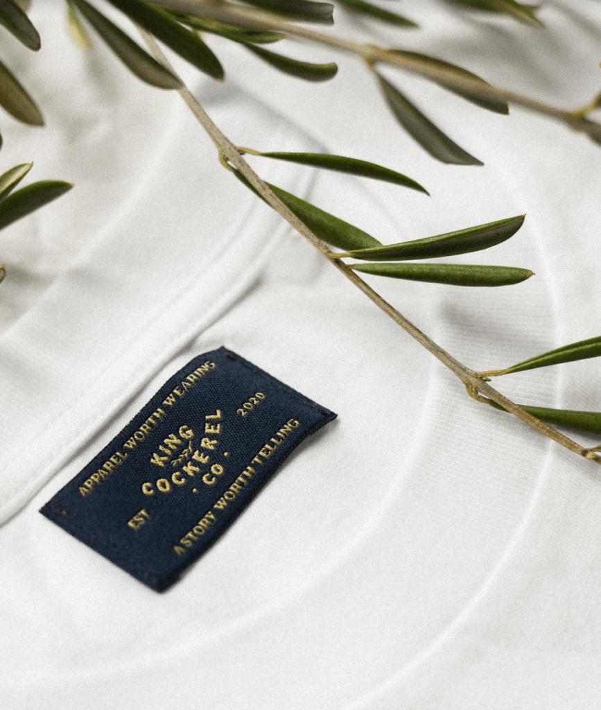 Closeup king Cockerel label Organic cotton