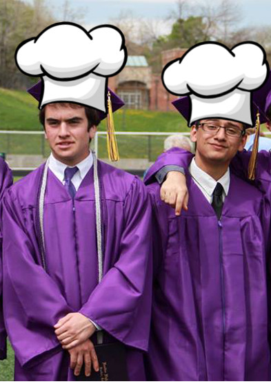 interracial chefs graduating wearing purple gowns