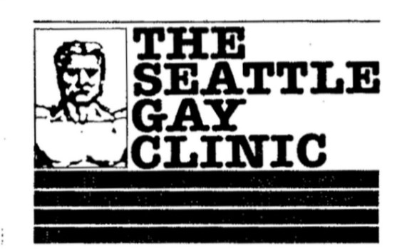 Logo for the Seattle Gay Clinic, ca. 1983. The Seattle-King County Department of Public Health and the clinic worked in partnership in the fight against AIDS. [Series 1825 - History files, Seattle-King County Department of Public Health: Prevention Division / HIV-AIDS Program. 1825-1-9.]