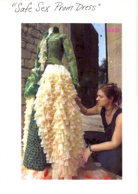 Condom dress and unidentified person at Seattle Gay Pride parade, ca. 1989-1990. [Series 1825, History files, Seattle-King County Department of Public Health: Prevention Division / HIV-AIDS Program. 1825-10-4.]
