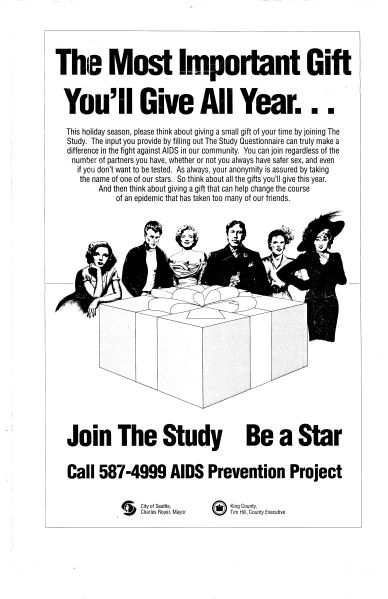 "Poster advertising the Be a Star study, ca. 1987. ""Stars"" (Judy Garland, James Dean, Marilyn Monroe, Oscar Wilde, Billie Holiday, and Mae West) were assigned to subjects in a system designed to allow long-term, anonymous participation. [Series 1825, History files, Seattle-King County Department of Public Health: Prevention Division / HIV-AIDS Program. 1825-6-5.]"