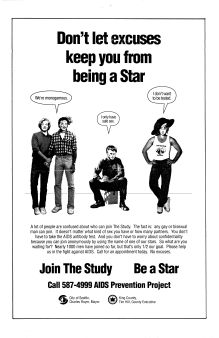"Advertisement for the Be a Star study, ca. 1987. Marilyn Monroe, Billie Holiday, James Dean, and Mae West were ""stars"" assigned to subjects, in a system designed to allow long-term, anonymous participation. [Series 1825, History files, Seattle-King County Department of Public Health: Prevention Division / HIV-AIDS Program. 1825-2-13.]"