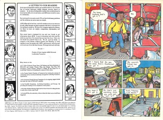 "Inside cover and page 1 of ""AIDS News"" comic book, published by the People of Color Against AIDS Network, 1988. [Series 1825, History files, Seattle-King County Department of Public Health: Prevention Division / HIV-AIDS Program. 1825-3-17.]"