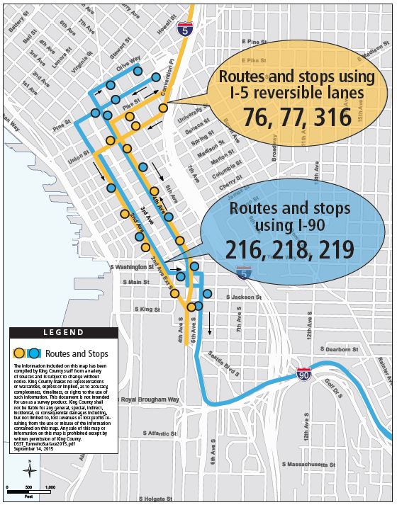 Six peak bus routes relocated from downtown Seattle transit