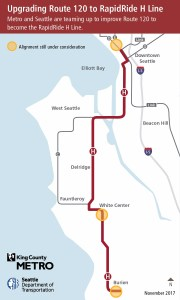 Route 120 map showing future RapidRide corridor from Downtown Seattle through Delridge/West Seattle, to White Center and Burien.