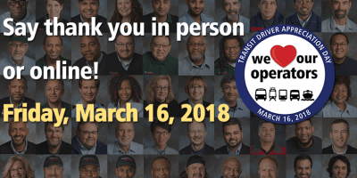 grid of driver photos and text say thank you in person or online Friday, March 16, 2018
