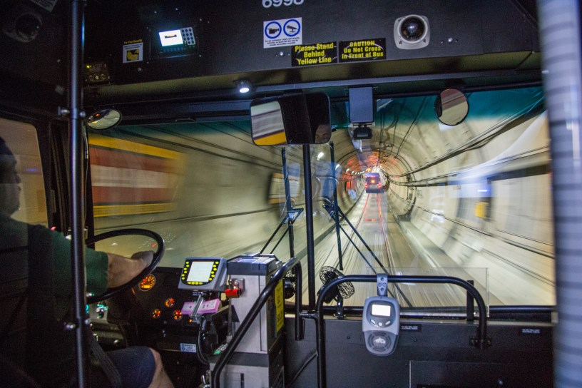 Metro bus traveling in the Downtown Seattle Transit Tunnel