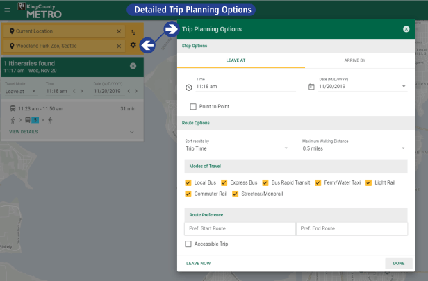 Clicking the gear icon next to your destination opens up a detailed trip planning option window for more detailed customization of your itinerary