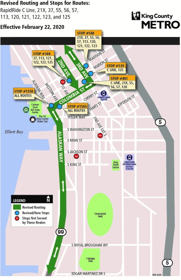 Coming February 22, 2020, Bus routing for 21 Express, 37, 55, 56, 57, 113, 120, 121, 122, 123, 125, and the RapidRide C Line with new stops located at Alaskan Way and Columbia Street; Third Avenue and Columbia Street and Third Avenue and Marion. Customer Service at 206-553-3000