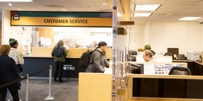 Metro's Pass Sales Office greets and helps customers at King Street Center