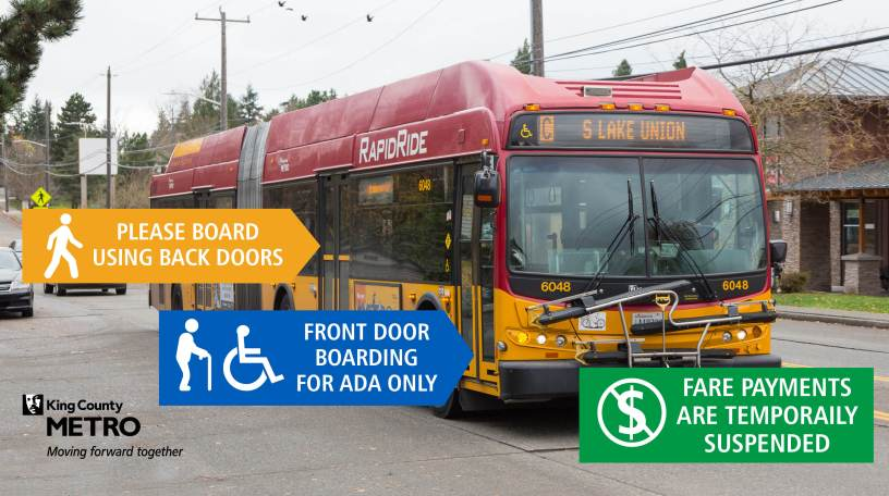 Boarding guidance: board at the back doors if you are able; front door boarding is for ADA only. Fare payments are temporarily suspended.
