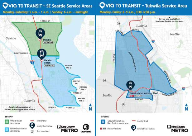 map of Tukwila and southeast Seattle service areas