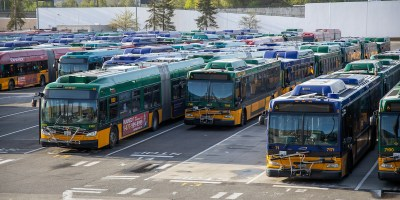 Transit buses parked at Metro's base