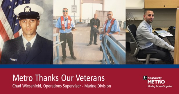 Chad Wiesenfeld, operations supervisor of Metro's Marine Division, is shown now and when in active duty