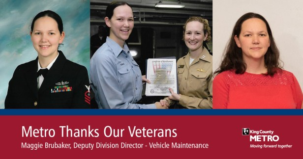 Maggie Brubaker, deputy division director of Vehicle Maintenance, shown in three images including in active duty