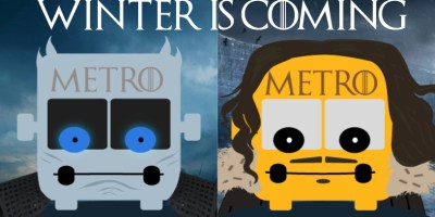 Two cartoon Metro buses appear, one looking like a Game of Thrones white walker and the other in the likeness of main character Jon Snow