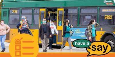 Riders wearing masks exit a bus and the Have A Say logo is in the lower right corner, and a survey icon is in the lower left corner
