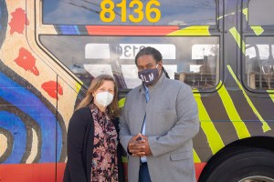 General Manager Terry White and Deputy General Manager Michelle Allison at the unveiling of Metro's Black Lives Matter buses on March 25, 2021.