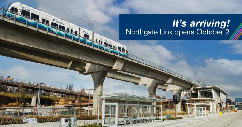 "Sound Transit graphic of Link light rail train at Northgate Station, ""It's Coming, Northgate Link opens October 2"" 2021"