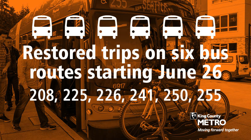 Graphic with text on orange photo: Bus icons with text that reads Restored trips on six bus routes starting June 26; 208, 225, 226, 241, 250, 255