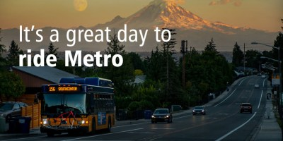Route 156 bus with view of Mount Rainier