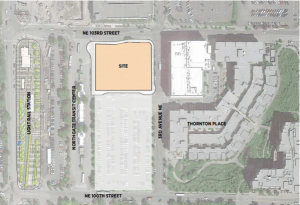 Map graphic showing the Northgate area and the planned affordable housing project in the northeast area of the existing Northgate park and ride/transit center area.