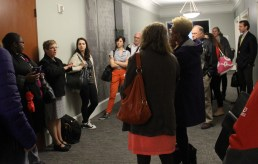 Gwen Clemens, DPD Chief of Operations talks to DPD employees at the beginning of a recent tour of the Dexter Horton Building Gwen and others led several employee tour.