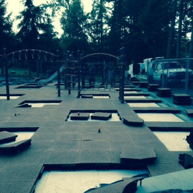 S County Ballfields playground tile installation 9-10-2015