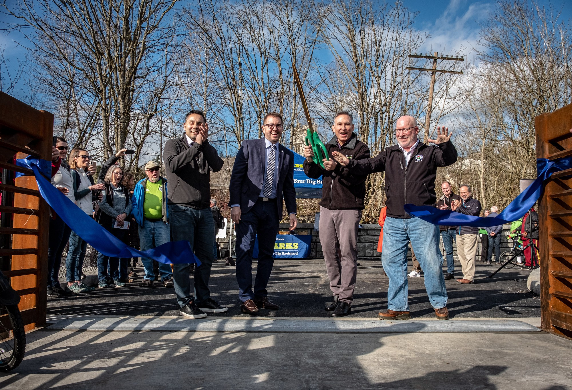 Elected officials cut the ribbon to the Lake to SOund Trail