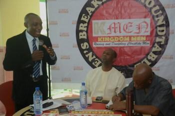 Left-Right: Dr Daniel Ifabiyi, ministering, Dr Biodun Adedipe and Pastor Remi Akano, KMEN 's Chief Vision Steward.