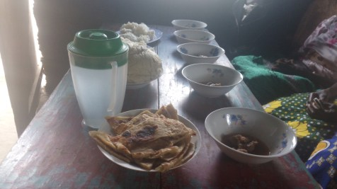 Chapati, Ugali meat and rice for prepared for orphans and widows