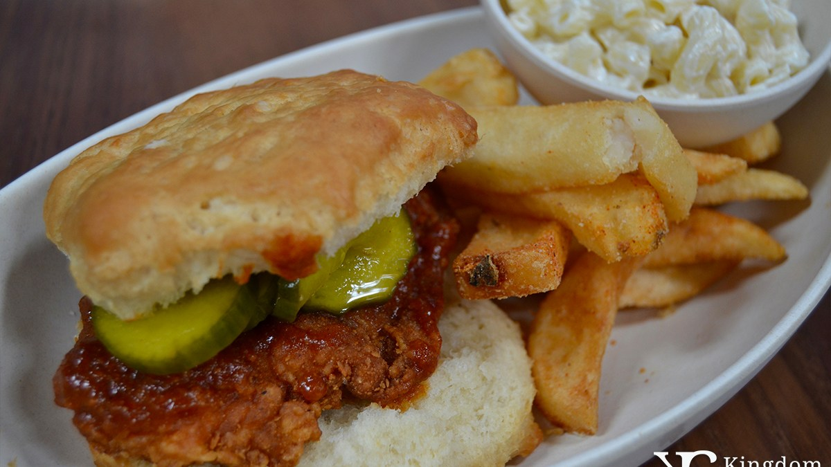 Crispy Fried Chicken on a Biscuit